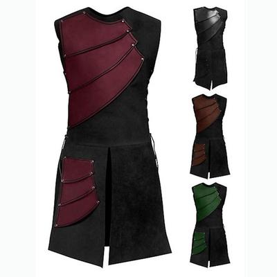 UK Men/'s Vintage Cosplay Costumes Medieval Vest V-neck Summer Short Sleeve Tops