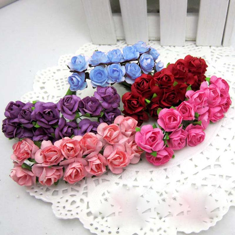144 Mini Petite Paper Artificial Rose Buds Flowers DIY Craft Wedding Decoration