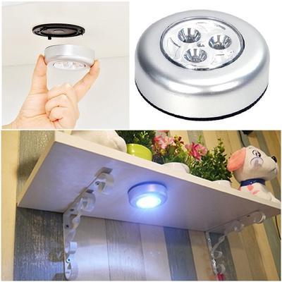 3 LED Battery Powered Stick Tap Touch Lamp Light Wall Kitchen Closet Lighting