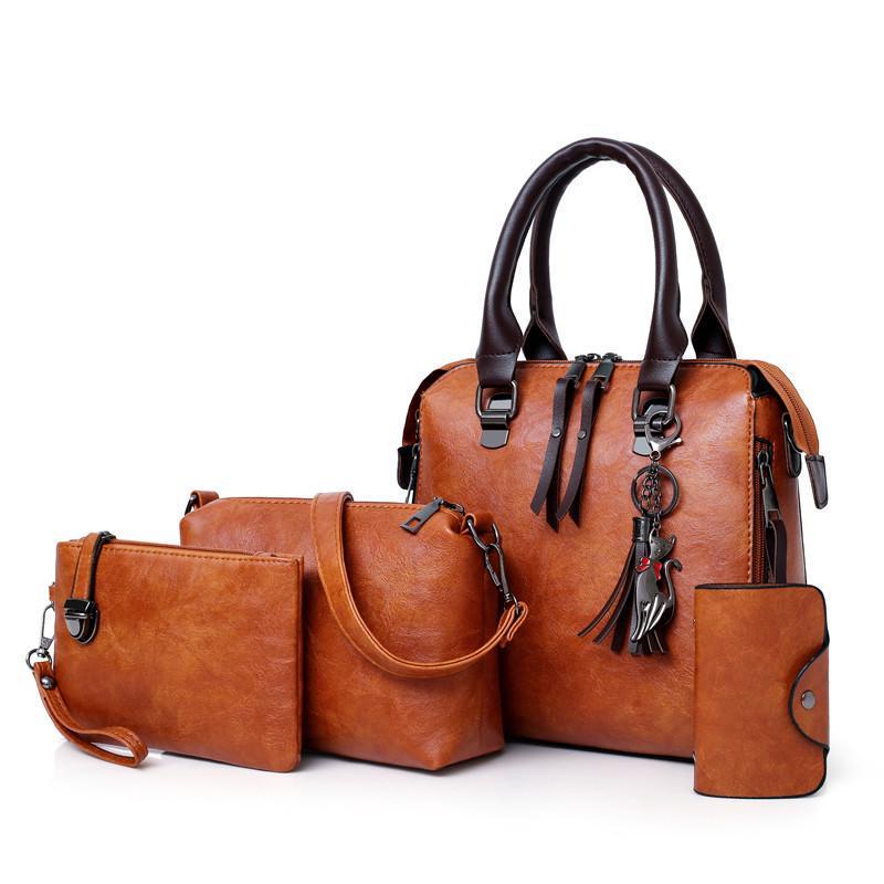 Womens Tassel Handbags Tote Bag Shoulder Bag Satchel Card Holder Set 4pcs Colors