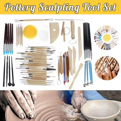 Clay Sculpting Kit Sculpt Smoothing Wax Carving Pottery Ceramic Tools Wooden Pottery Polymer Shapers Modeling Carved Tool Ceramic Clay Tools Set 27 Pieces