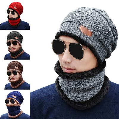 42e72f17360 2 Pcs Set Fashion Men Knitted Cap Scarf Wool Keep Warm Thicken Outdoor  Sport Man
