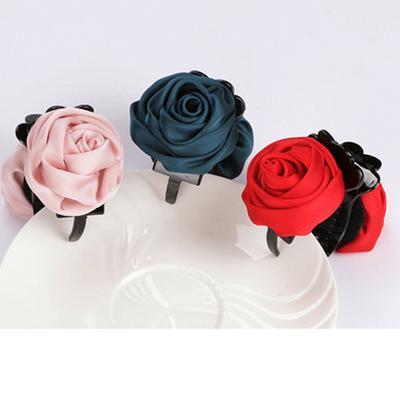 Women Korean Rose Flower Hair Clamp Claw Clip Fabric Hairpin Accessories Fashion