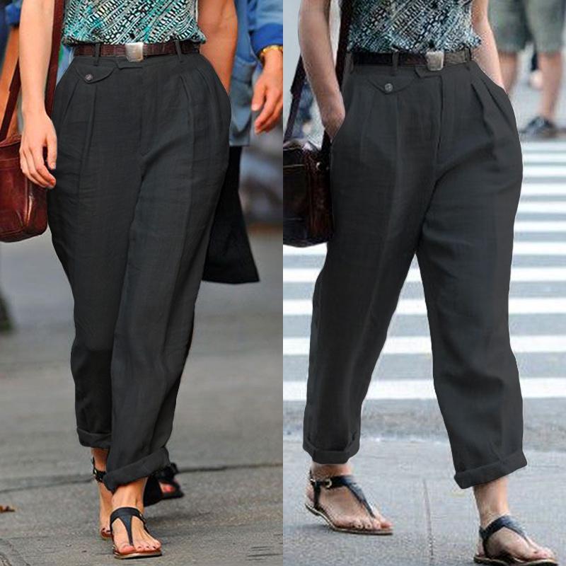 ЗАНЗЕА Мода женщин ы случайные брюки Офис Работа Фронт Зиппер Стороны Карманы Высокий Waist Длинные брюки фото