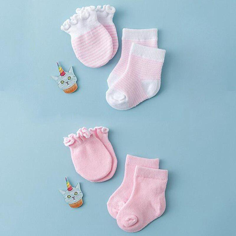 Lowral 4 Pairs Children Kids Baby Newborn Socks Gloves Anti-Scratch Breathable Elasticity Protection Face Mittens Shower Gift