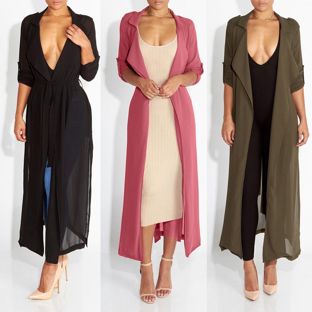 欧美时尚长袖开衫雪纺衫外套 3色可选