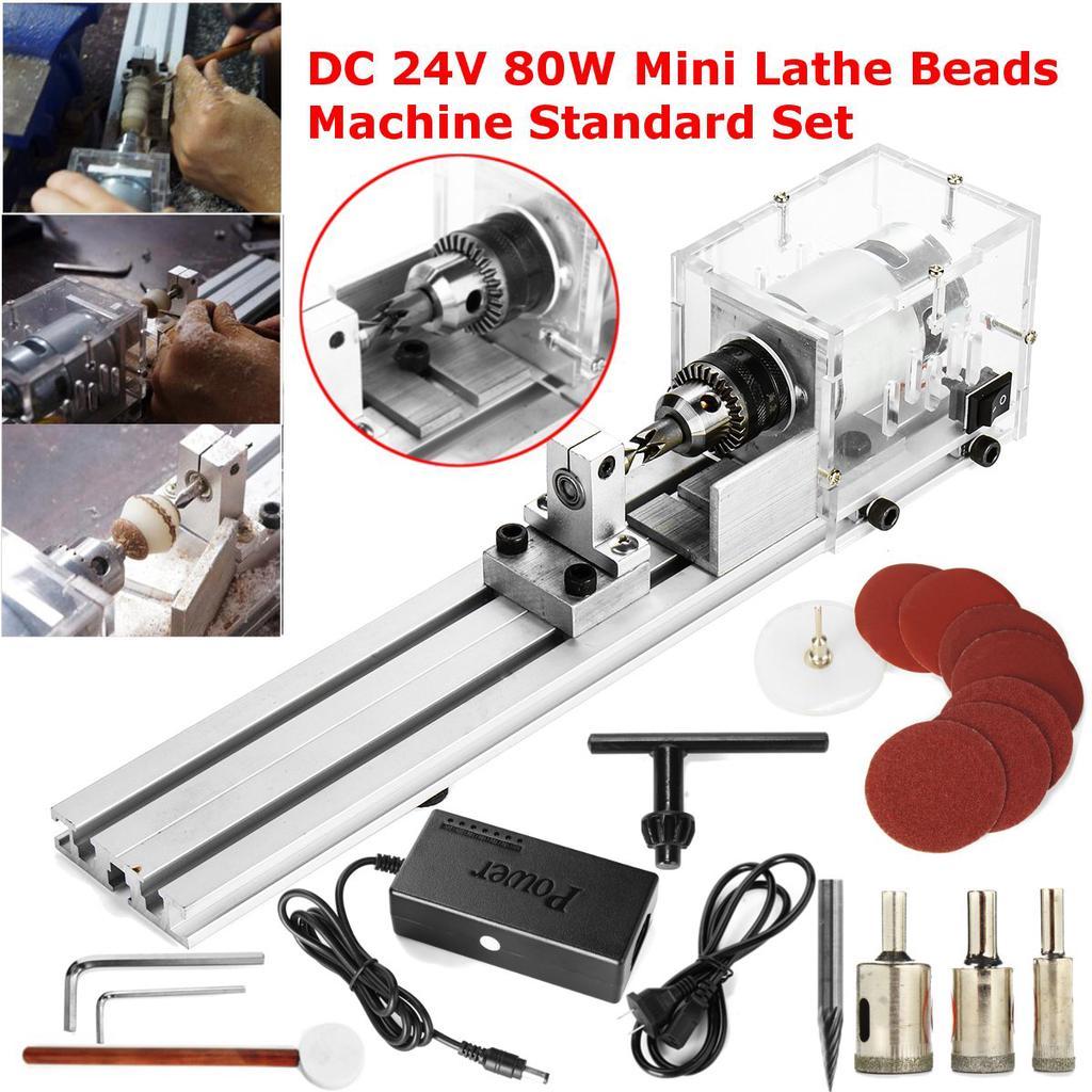 DC 24V 80W Mini Lathe Beads Machine Woodworking DIY Lathe Standard Set w// Power
