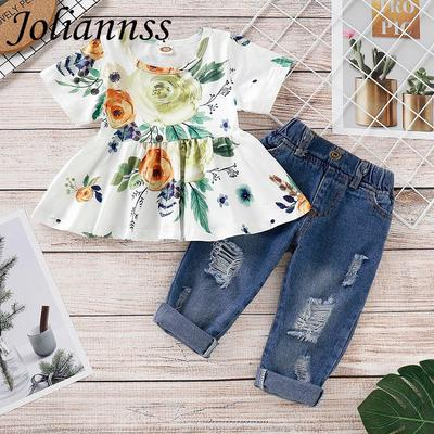 Jeans Pants Outfit Clothes Set 2PC Kids Baby Girl Off Shoulder Long Sleeve Tos