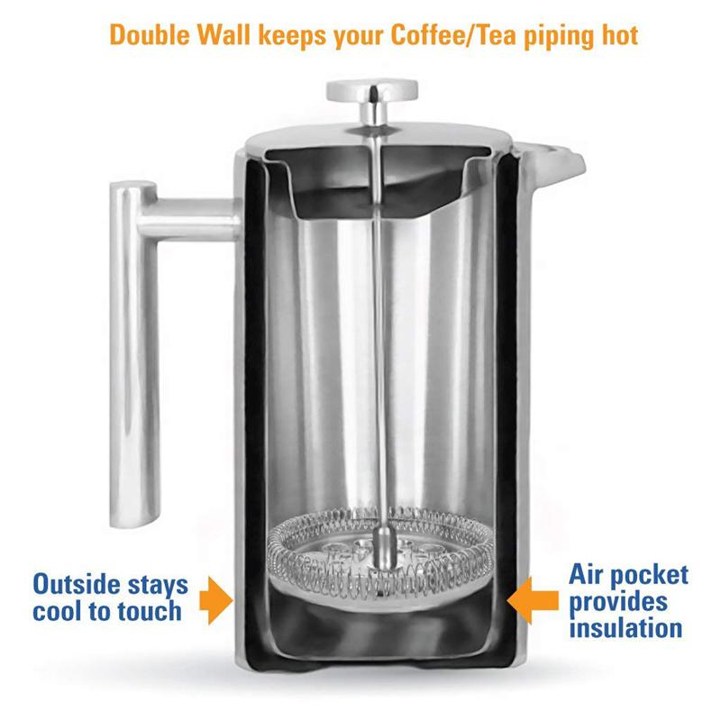 French Press Coffee Maker Stainless Steel Double Wall Insulated 34 oz and Pour Over Accessories Clean Brush /& Filter Screen Dishwasher Safe