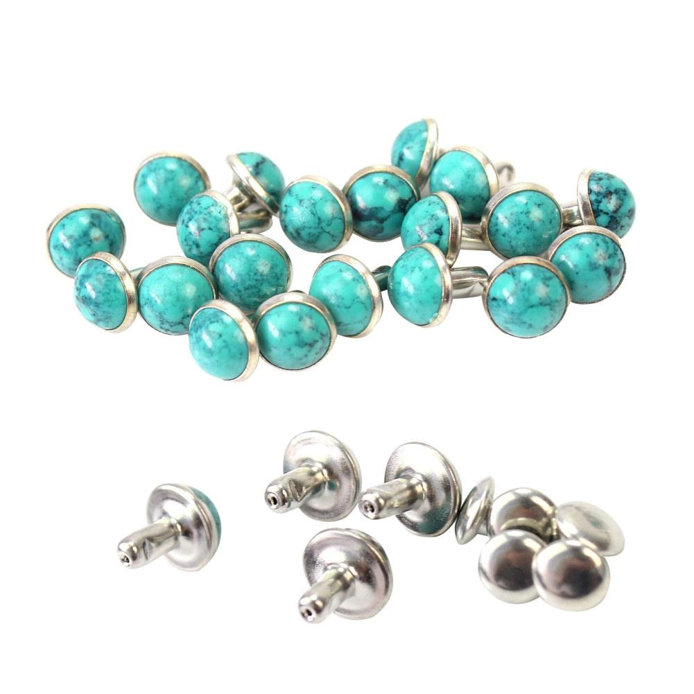 20 Pairs Turquoise Rivet Studs for DIY Bag Shoes Clothing Leather Belt Craft 8mm