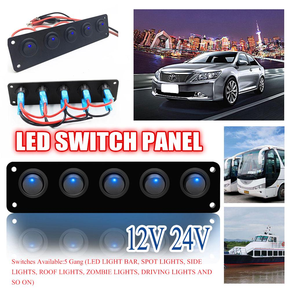 Rocker Switch Panel 5 Gang Round Dash Rocker Toggle Switch Panel Blue LED 12-24V for RV Boat Yacht Marine