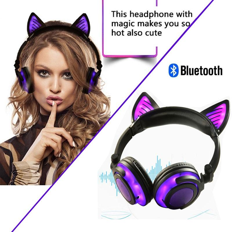 Bluetooth Earphone Cat Ear Wireless Headset Microphone Flashing Luminous Headphone Buy At A Low Prices On Joom E Commerce Platform