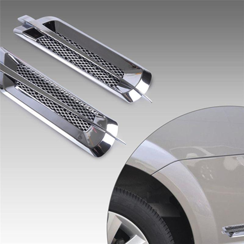 Universal 2Pcs Chrome Car SUV Air Flow Fender Side Vent Decoration Air Intake Sticker