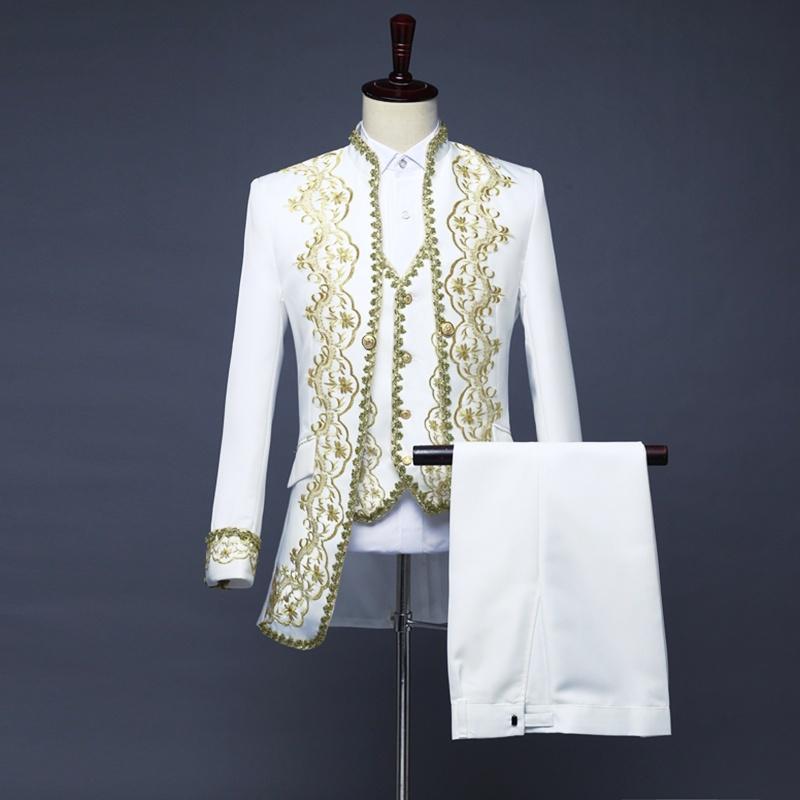 Herrenmode Zwei-Knopf Anzüge Brokat Revers Plusgröße Hochzeit Business Blazer 68