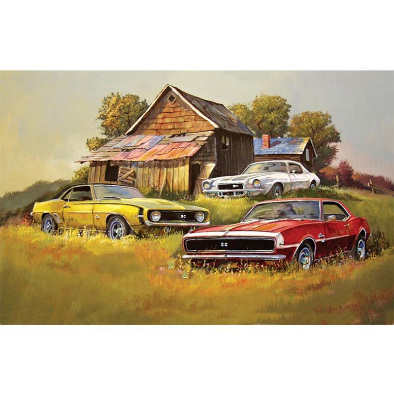 Original 1 of a kind Vintage Automobile Oil Painting