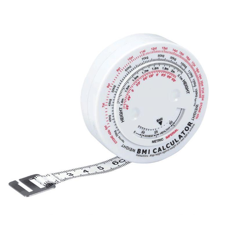 Retractable Body Fat Tape Measure Body Mass Fitness Health Diet Muscle White