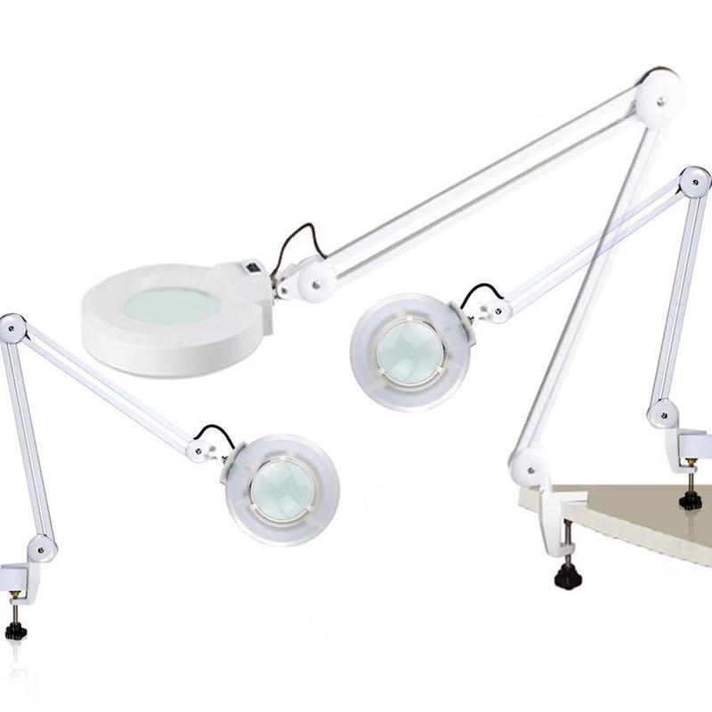 Cold light loupes desk table clamp mount roll adjustable magnifier lamp  light magnifying glass len US plug