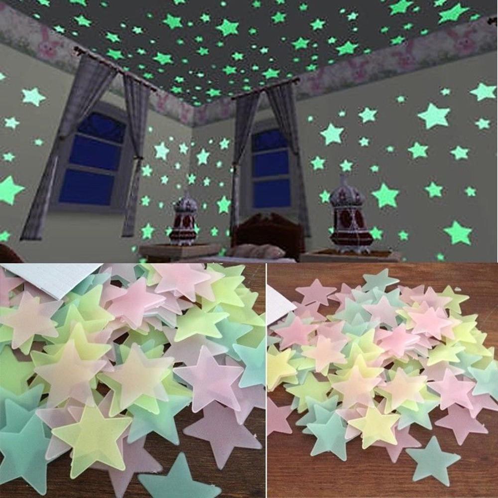 100 люминесцентных стикеров-звезд для декора фото