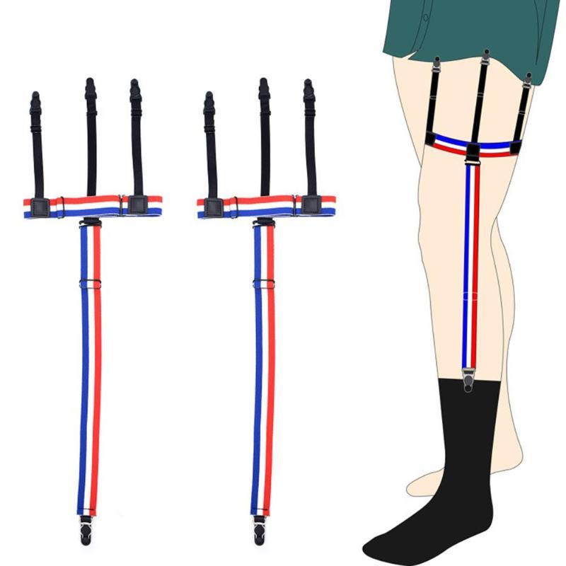 1pair Adjustable Men Business Shirt Stays Garters Elastic Shirts Suspender Sock