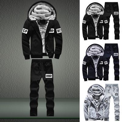 Mens Pullover Winter Jackets Fleece Hoodies Outwear Coat Top Pants Sets