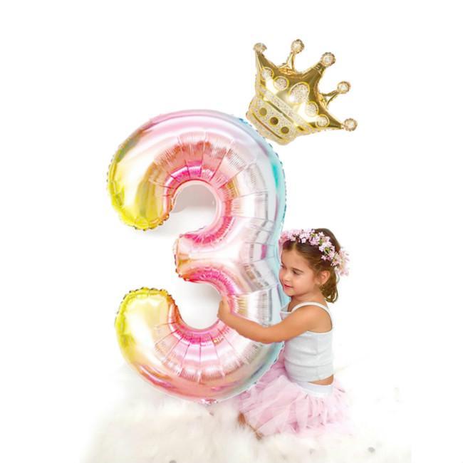 2pcs/лот 32inch градации число воздушные шары с короной фольга Balon дети день рождения декор партия поставки