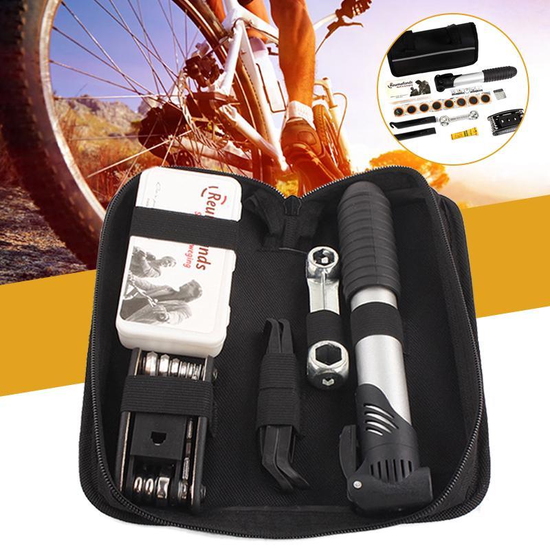 Bike Tire Repair Kit Portable Mini Pump Outdoor Emergency Maintenance Multi Tool