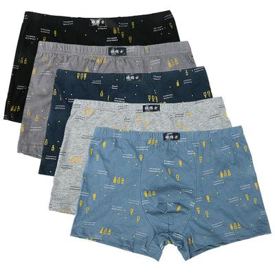 100% Cotton Printed Men's Pure Cotton Flat Angle Plus Fertilizer To Increase Loose Breathable Bottom Pants