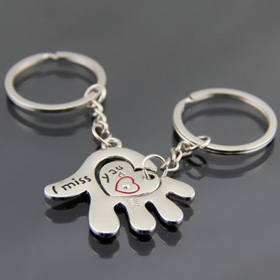 MISS YOU LOVERS I LOVE YOU SET OF 2 KEYRINGS JIGSAW MALE FEMALE HAND PALM HEART
