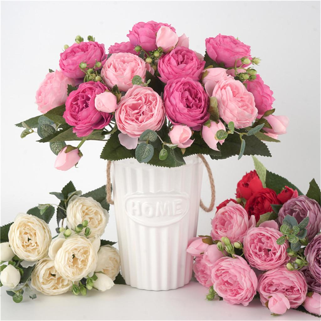 Details about  /9-Heads Artificial Silk Peony Flowers Lifelike Simulated Home Bouquet Decoration