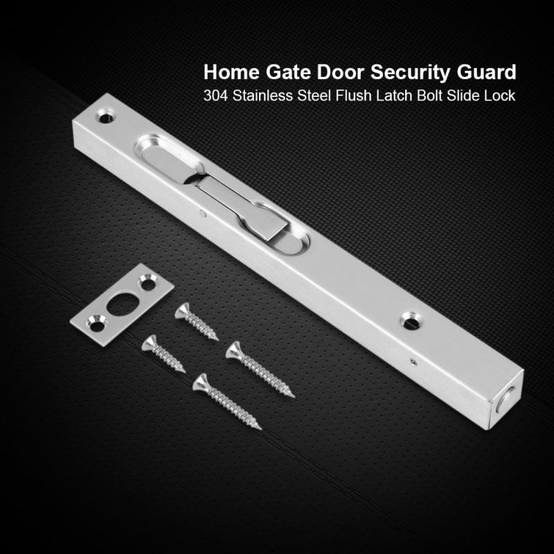 Home Gate Door Security Guard 304 Stainless Steel Flush Latch Bolt Slide Lock 6inch Bracon Slide Latch Lock