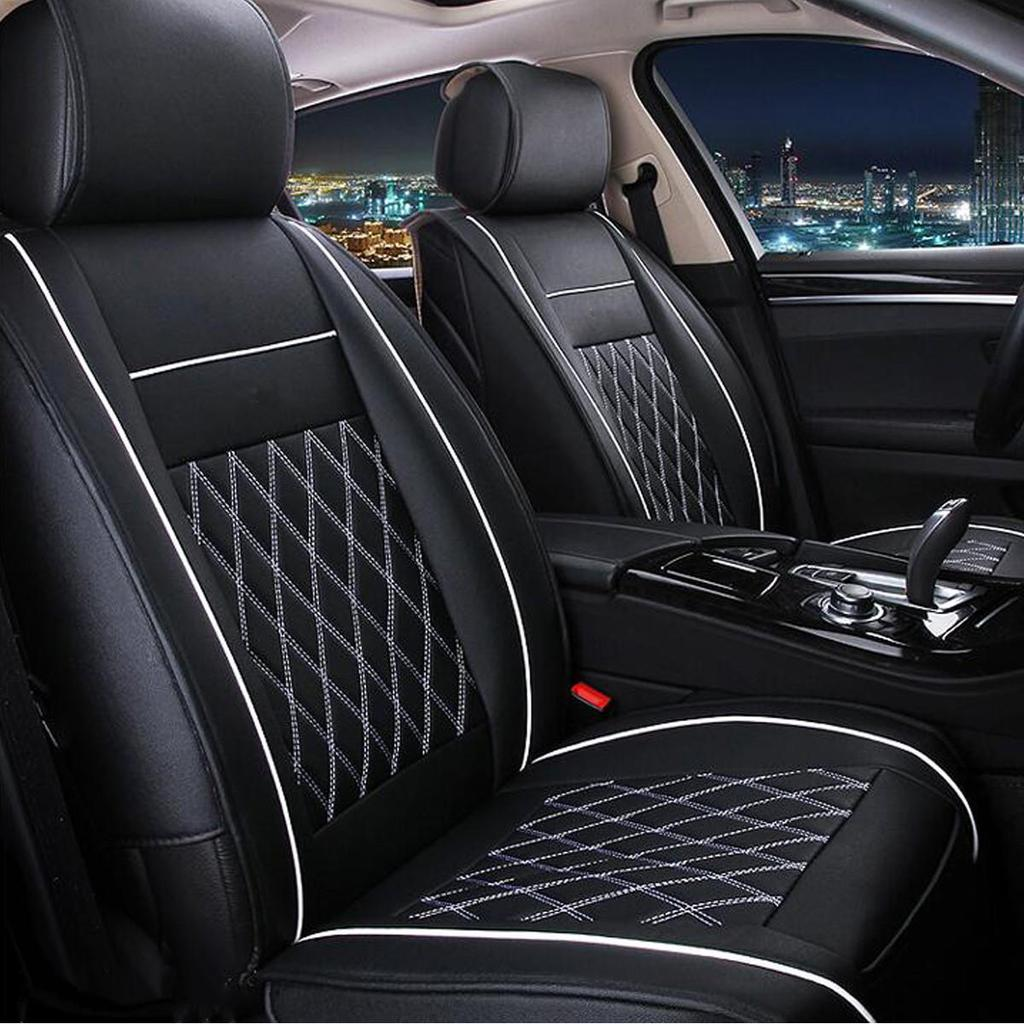 Single Front High Back Bucket Car Seat Covers Set Grey Synthetic Leather 1pcs