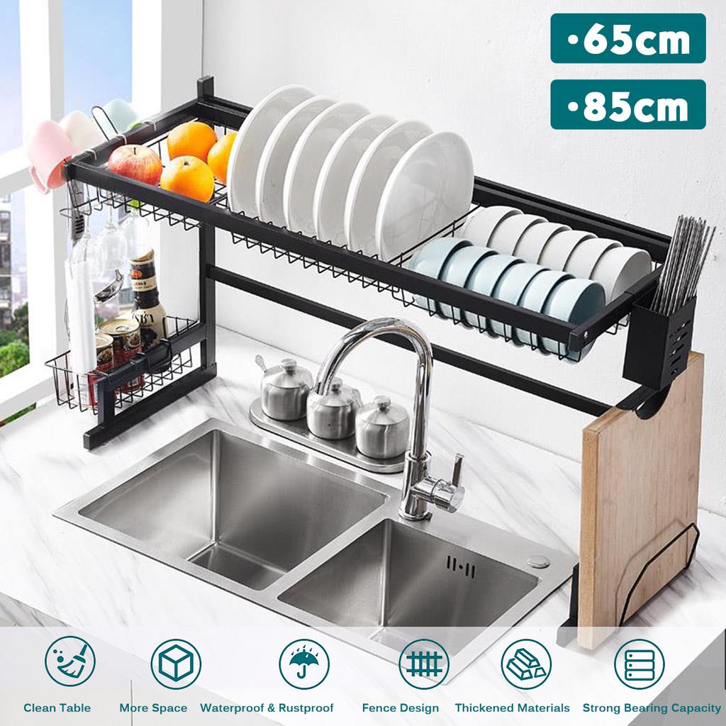 Buy 65 85cm Stainless Steel Metal Kitchen Shelf Organizer Dishes Drying Rack Over Sink Drain Rack Kitchen Storage Countertop Utensils Holder At Affordable Prices Free Shipping Real Reviews With Photos Joom