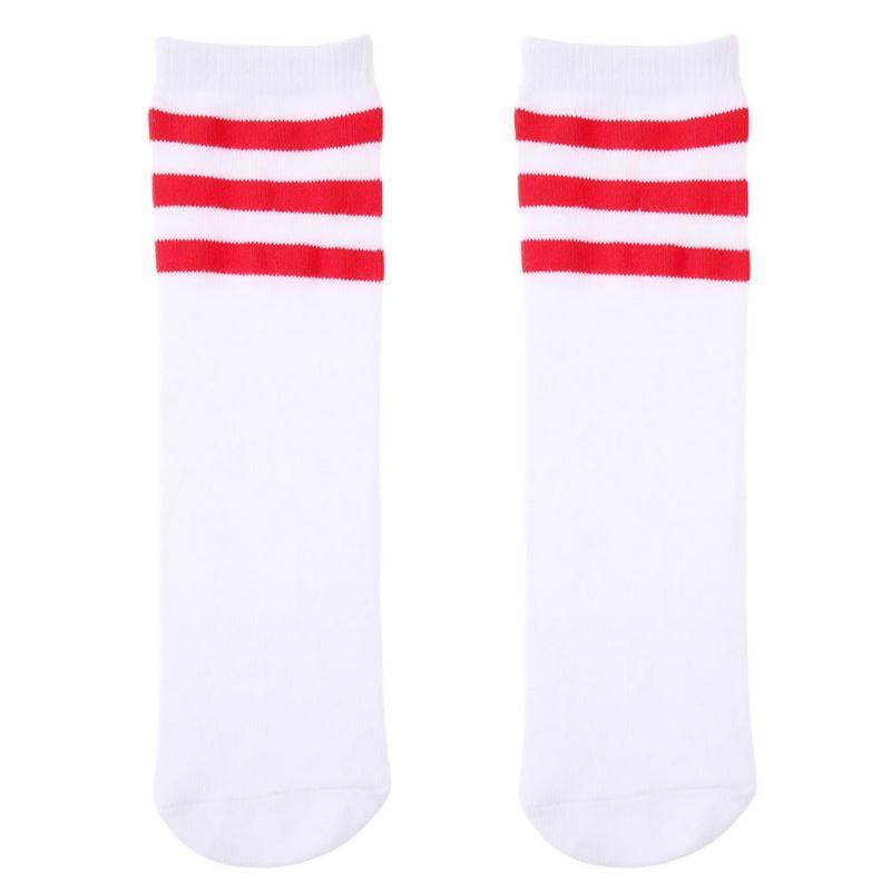 TININNA 4 Pairs Stripe Thicken Knee High Socks Cotton Football Socks for Kids Children Girls Boys 4-5 Years Old