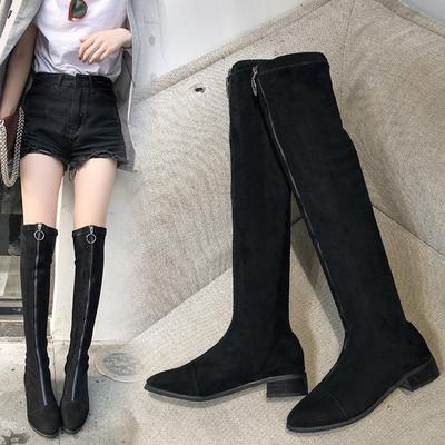 Осінь зима товсті каблук над коліно чоботи модельні жіночі блискавку чобіт  жіночий низькому каблуці взуття 07baeb95944e8