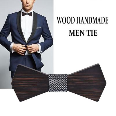 Men Wooden Classic Bow Tie Set Handmade Mens Wedding Party Wooden Bow Tie Kerchief Set