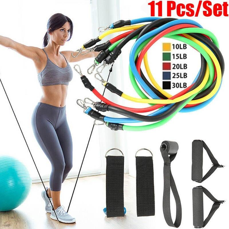 14PCS Resistance Bands Workout Exercise Crossfit Fitness Yoga Training Tubes Set