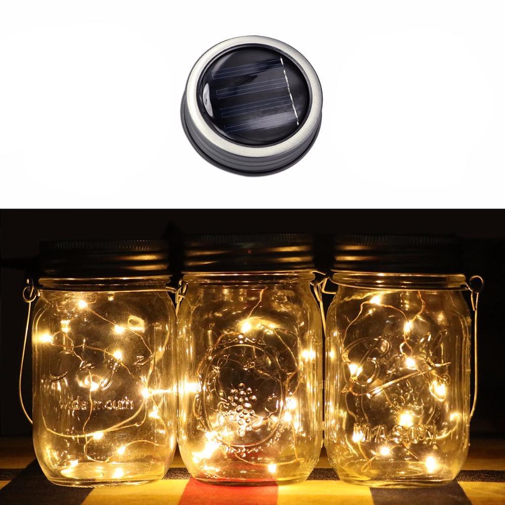 US 3X Mason Jar Lid Insert Glass Garden Christmas Party Decor LED String Lights