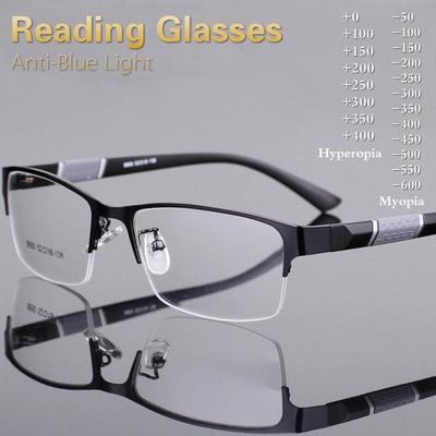 Anti Blue Light Reading Glasses Men Retro Metal Frame Square Students Myopia Glasses Frame Men Hyperopia 0~+4.0 / Myopia -1.0~-6.0