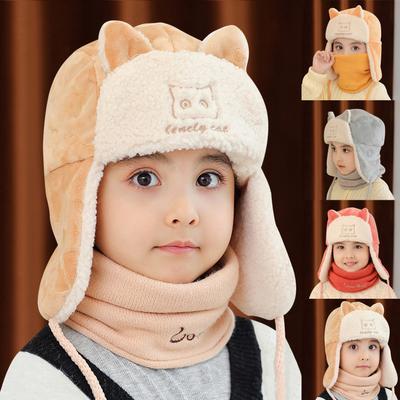Baby Hats Winter Warm Earmuffs Cartoon Soft Beanie Cap Lamb Cashmere Photo Props