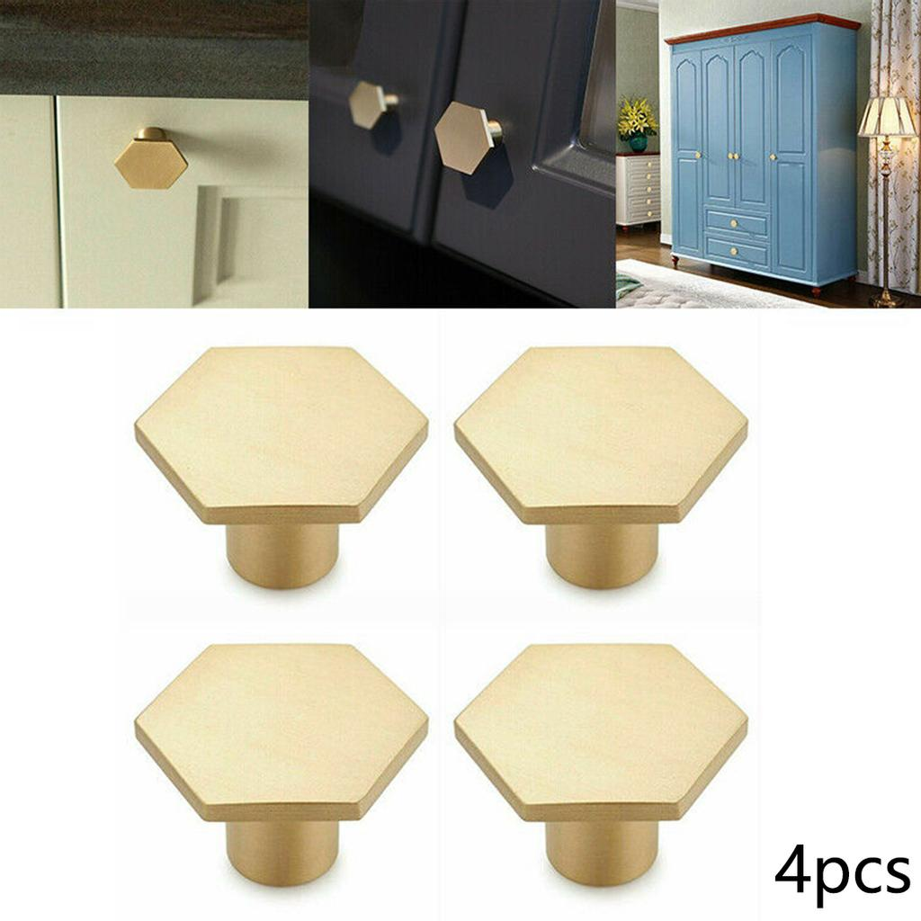 HEXAGONAL KNOB British Design Cupboard Drawer Cabinet Handle Solid Brass