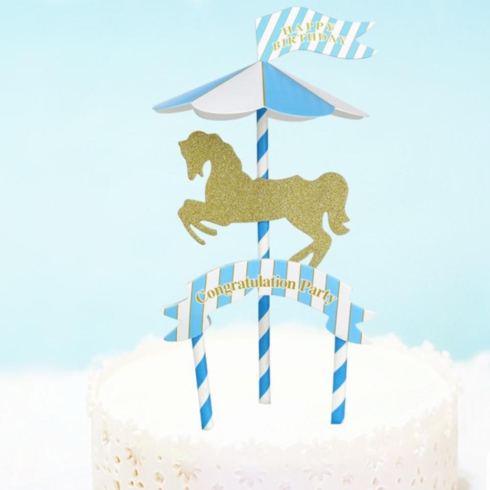 Admirable Diy Cute Happy Birthday Cake Decoration Carousel Paper Insert Card Personalised Birthday Cards Akebfashionlily Jamesorg