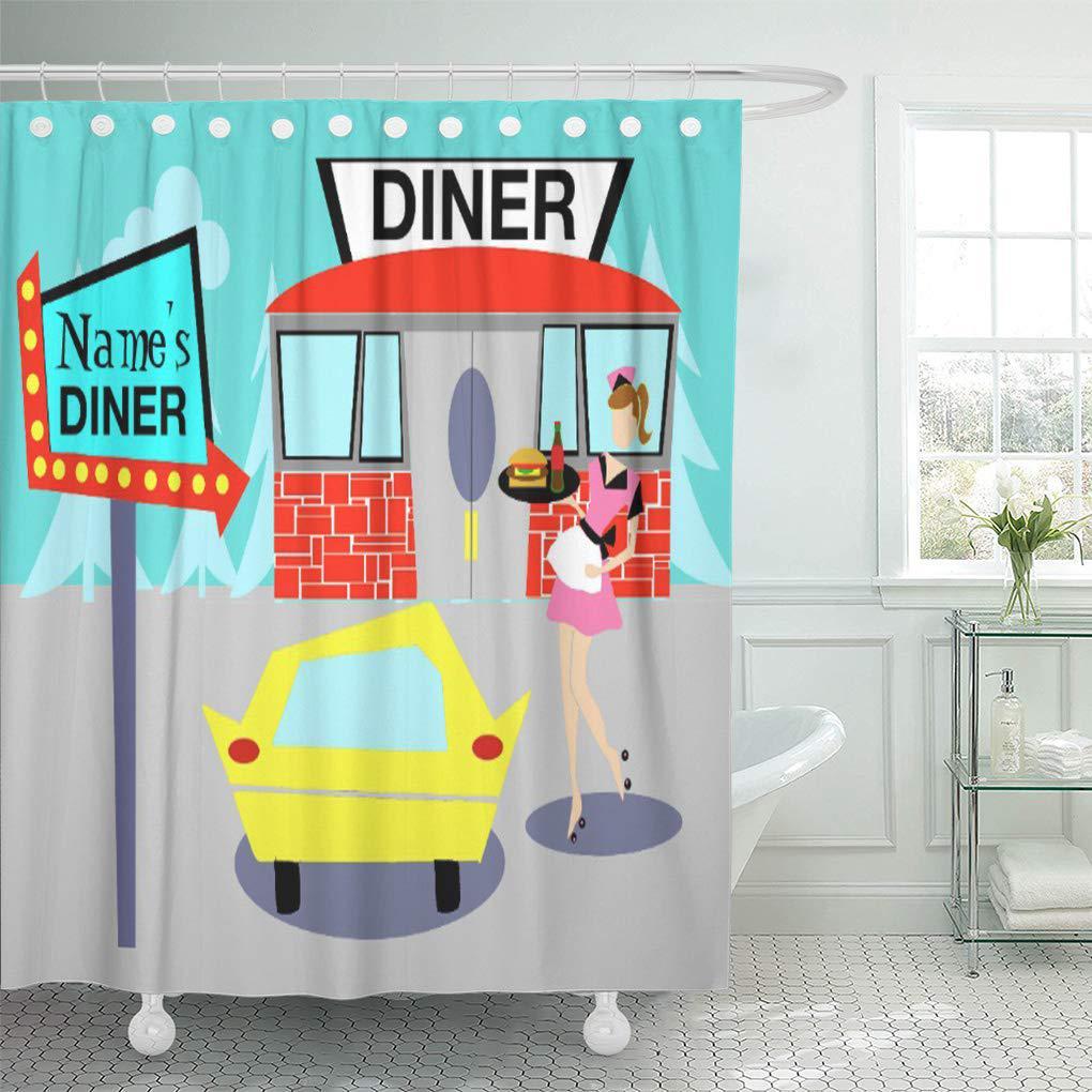 Yellow Retro Customizable 1950 Diner Pink Vintage Restaurant Americana Shower Curtain 60x72inch 150x180cm Buy From 25 On Joom E Commerce Platform