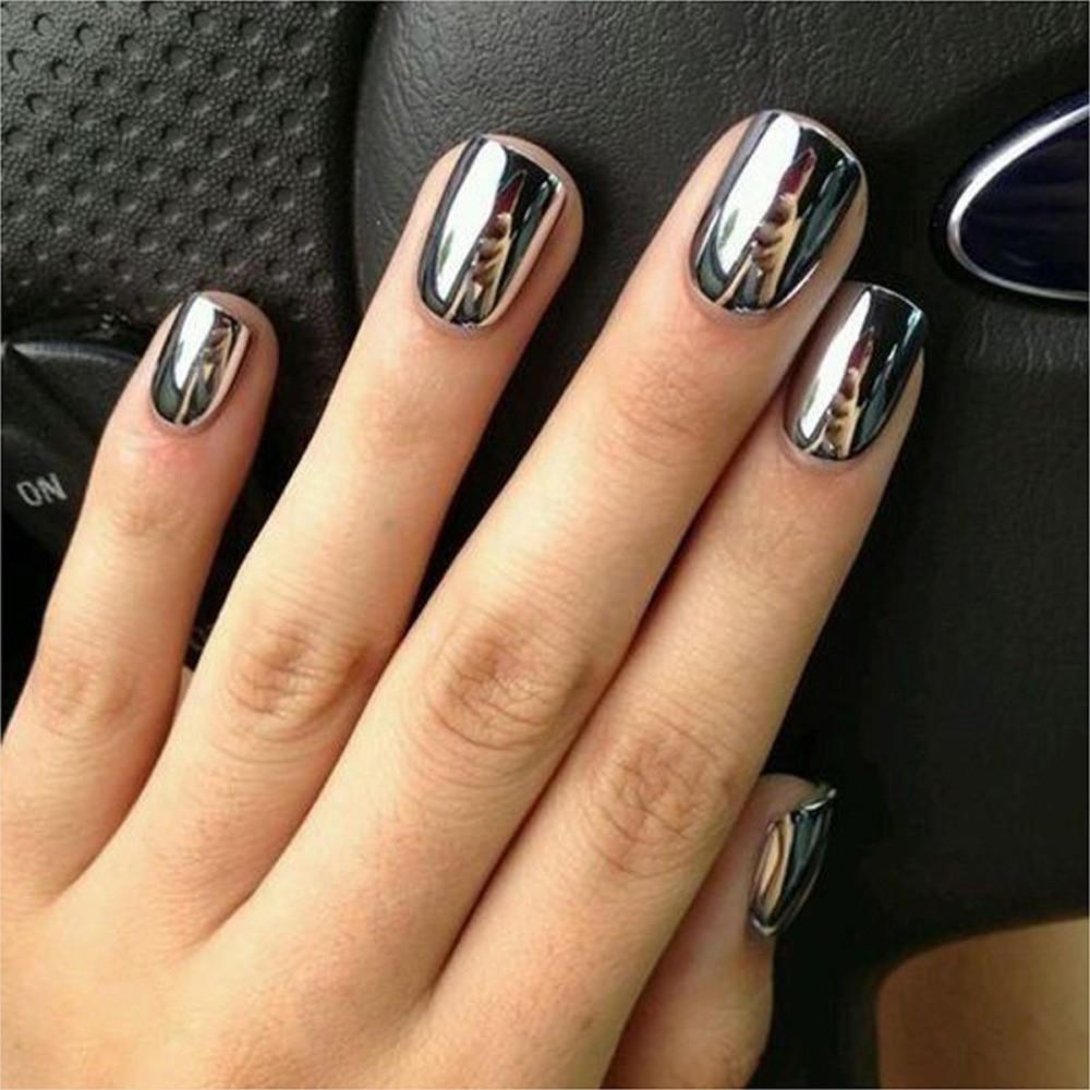 Mujeres espejo polvo efecto cromo uñas pigmento pulimento del Gel ...