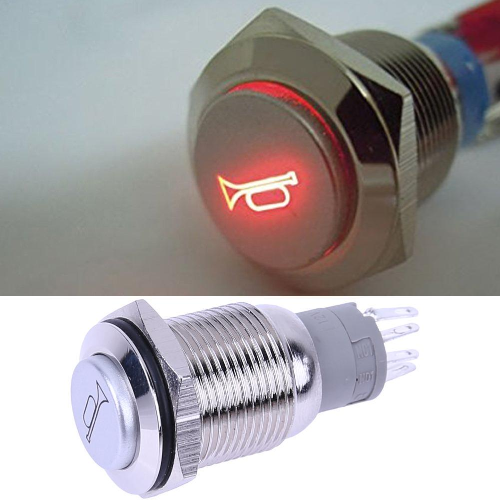 12V DC RED LED 16mm Car Boat Speakers Bell Horn Momentary Push Button Switch