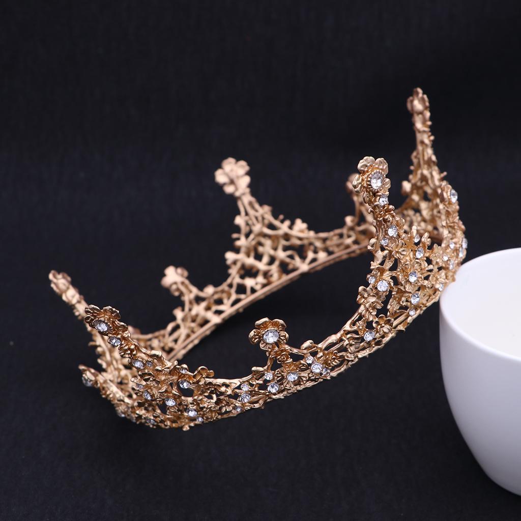 Gold Handmade Crown Crystal,Crown Pearl,Crown Bridal,Prom Crown,Luxurious Crown,Wedding Crown,Baroque Crown,Headwear,Jewelry,Crown Ornament