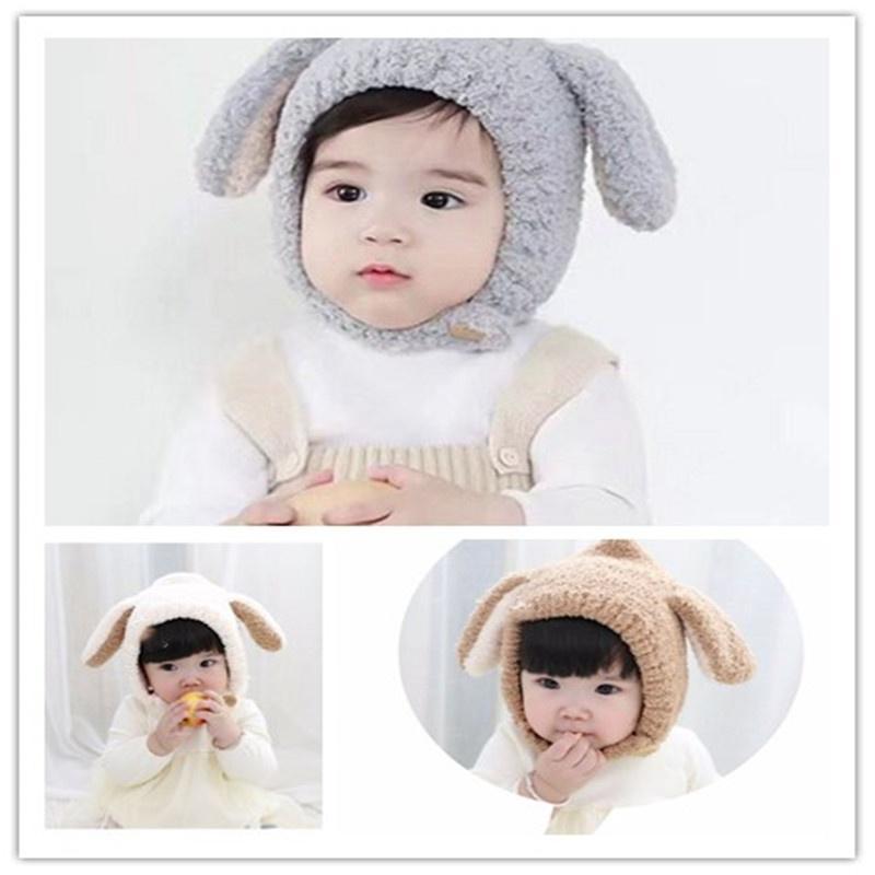 Niños lindos tejidos terciopelo orejas de conejo bebé gorro sombrero ...