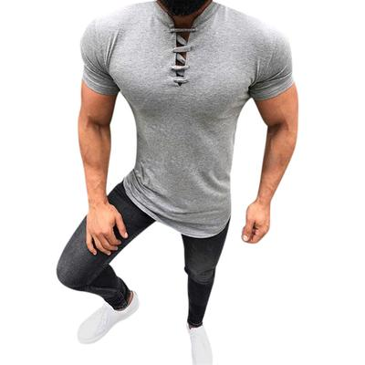 Mens Summer Fashion Solid Stand Collar Drawstre Short Sleeve Fitness Casual Top