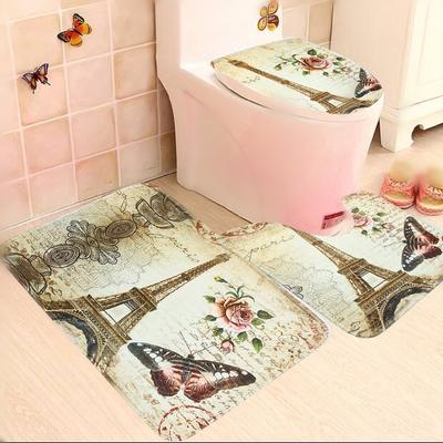 e851d54743cc4 Antypoślizgowa łazienka cokół mata mata toaleta dywan zestaw Dywan Wieża  eiffla 3 sztuk / zestaw