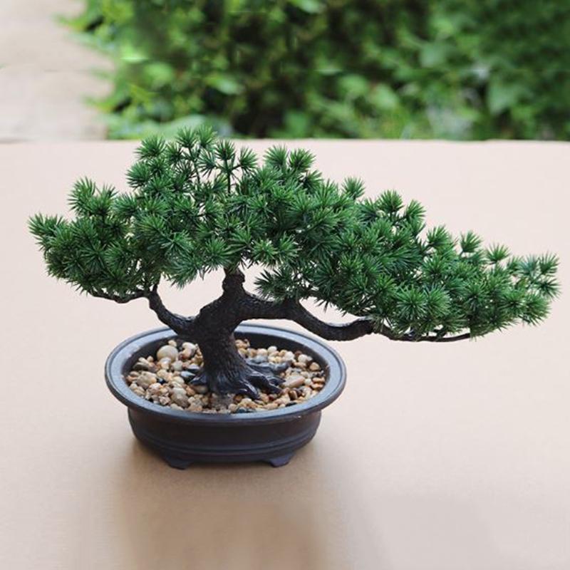 Fake Artificial Green Plant Bonsai Potted Simulation Pine Tree Home Desk Decor