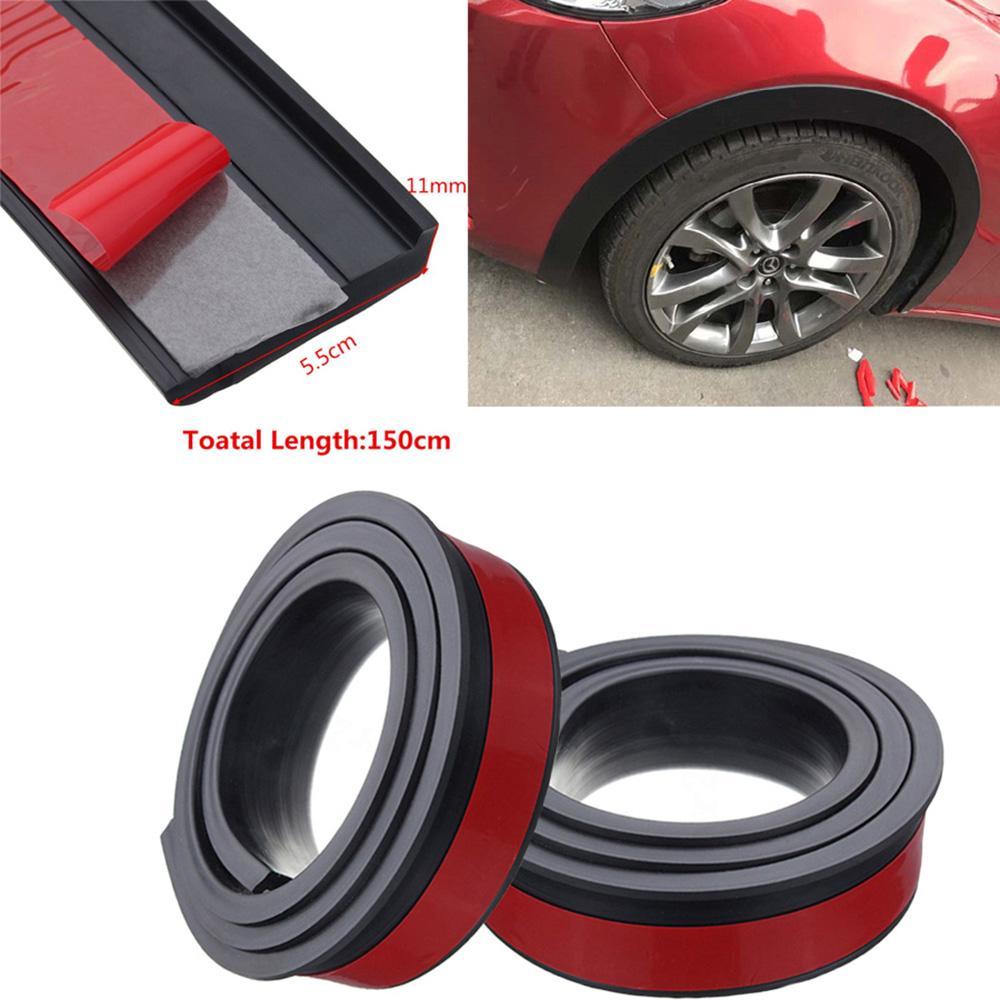 Black Car Fender Flare Wheel Eyebrow Protector Arch Trim Strip 5.5cm*150cm